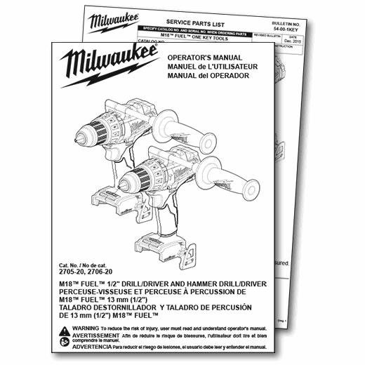 Download Operator S Manuals Parts Lists Msds Milwaukee Tool
