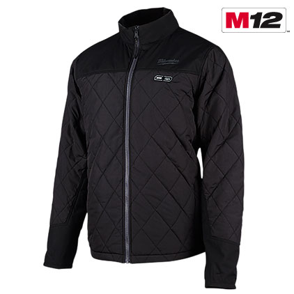 Milwaukee Performance-Mens Zipper Front Heated Soft Shell Jacket w//Front /& Back Heating Elements includes portable battery pack-BLACK-XL