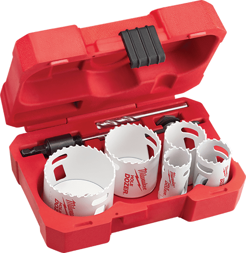 MILWAUKEE 49-22-4006 (9PC) HOLE DOZER GENERAL PURPOSE BI-METAL HOLE SAW KIT, ICE HARDENED (REPLACES 49-22-4005) (INCLUDES ONE 1-1/8 HOLE DOZER BI-METAL HOLE SAW, ONE 1/8 HEX KEY, ONE 3/4 HOLE DOZER BI-METAL HOLE SAW, 1-HOLE SAW ARBOR ADAPTER, ONE 3/8 TWIST-RELEASE SMALL THREAD QUICK CHANGE ARBOR, ONE 3/8 TWIST-RELEASE SMALL THREAD QUICK CHANGE ARBOUR ONE 1/4X3-1/2 HIGH SPEED STEEL PILOT BIT, 1 HOLE SAW ARBOR SPACER, ONE 7/8 HOLE DOZER BI-METAL HOLE SAW) MC344986