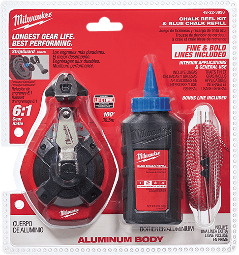 Milwaukee Precision Chalk Line Reel 100 ft Fine Line
