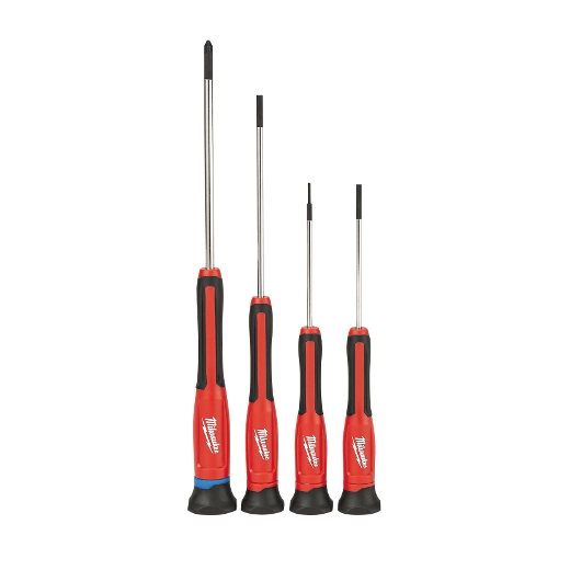 MILWAUKEE 48-22-2604 Precision Screwdriver Set,Slotted//Phillips,4 pcs,Round