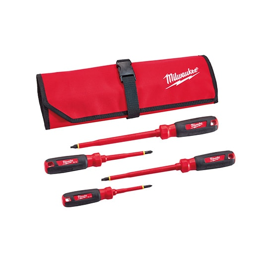 4 PC 1000V Insulated Screwdriver Set w/ Roll Pouch