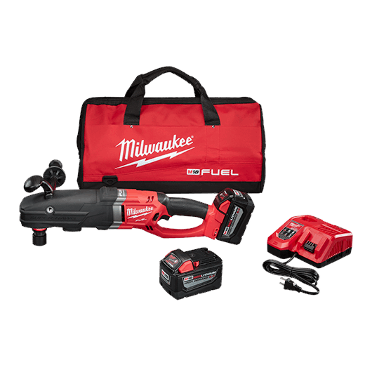 Milwaukee® 2711-22HD M18 FUEL™ SUPER HAWG™ Right Angle Drill Kit With Quik-Lok, 7/16 in Hex QUIK-LOK™ Chuck, 18 VDC, 0 to 350/0 to 950 rpm No-Load, 22 in OAL, Lithium-Ion REDLITHIUM™ Battery