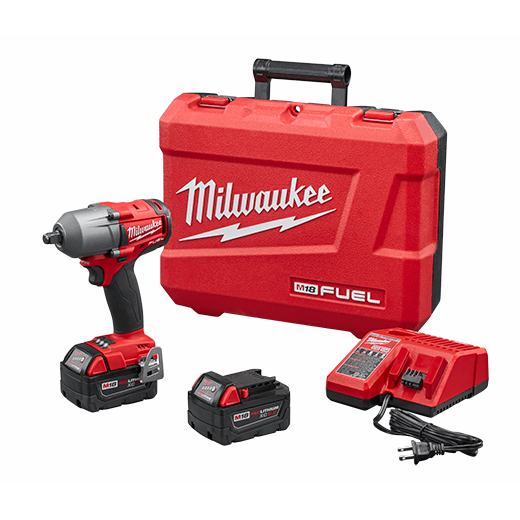 Milwaukee® 2861-22 M18 FUEL™ Mid Torque Cordless Impact Wrench Kit, 1/2 in Square/Straight Drive, 3000 bpm, 600 ft-lb Torque, 18 VDC