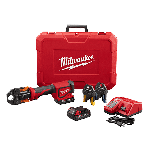MILWAUKEE 2674-22P M18 SHORT THROW PRESS TOOL KIT WITH VIEGA PURE FLOW JAWS, INCLUDES 2 M18 BATTERY, CHARGER, 1/2