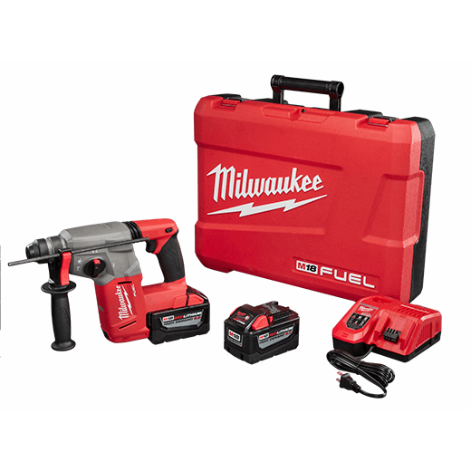 Milwaukee® 2712-22HD M18™ FUEL™ Cordless Rotary Hammer Kit, 1 in SDS Plus Chuck, 18 VDC, 0 to 1400 rpm No-Load, Lithium-Ion Battery
