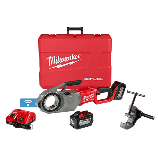 MILWAUKEE 2874-22HD M18 ONE-KEY PIPE THREADER KIT, (2) HD12.0 BATTERY PACKS, & M12 RAPID CHARGER, SUPPORT ARM AND CARRYING CASE MC397726
